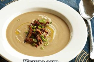 CREAM OF MUSHROOM SOUP WITH CRISPY ONIONS